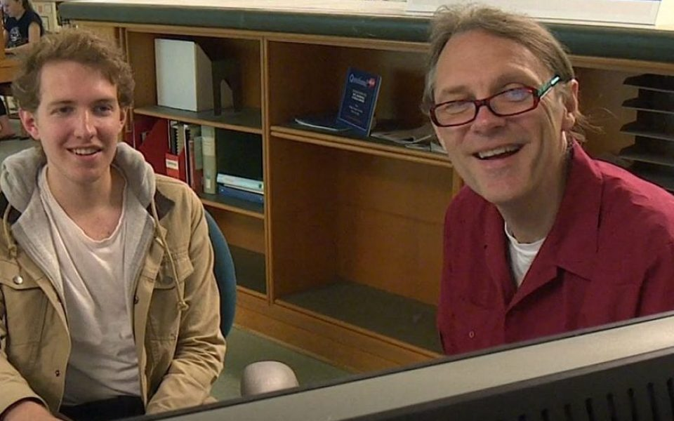 Librarians are available for one-on-one research consults with undergraduates. In this photo, Adam Siegel talks with 2018 Lang Prize winner Grant Rosinko.