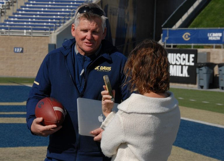We caught up with Coach Hawk after practice on October 10 to ask him a few questions about the student-athlete experience, and how the library can help. (Photo Credit: Tim Silva/UC Davis Library)