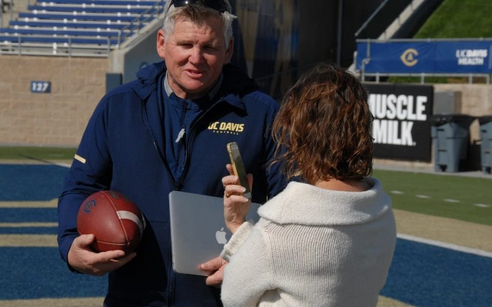 We caught up with Coach Hawk after practice on October 10 to ask him a few questions about the student-athlete experience, and how the library can help. (Tim Silva/UC Davis Library)