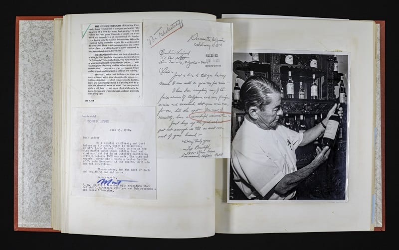 A page from a scrapbook of clippings about or related to Andre Tchelistcheff, compiled by Dorothy Tchelistcheff (Photo Credit: UC Davis Library/Archives and Special Collections)