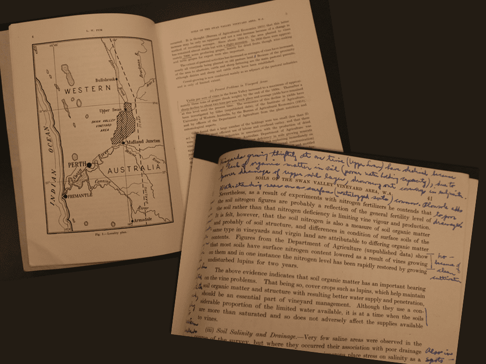 "Harold Olmo's handwritten notes in the margins of his copy of ""Soils of the Swan Valley Vineyard Area, Western Australia"""