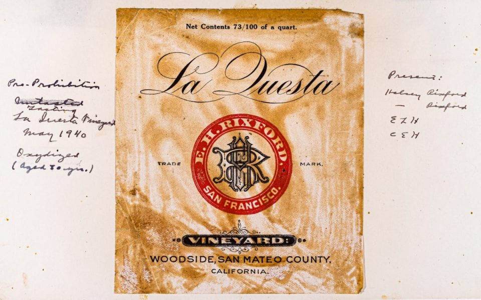 A pre-Prohibition era wine label with handwritten notations by Maynard Amerine, one of the founding members of the UC Davis Viticulture and Enology Department (UC Davis Library/Archives and Special Collections)