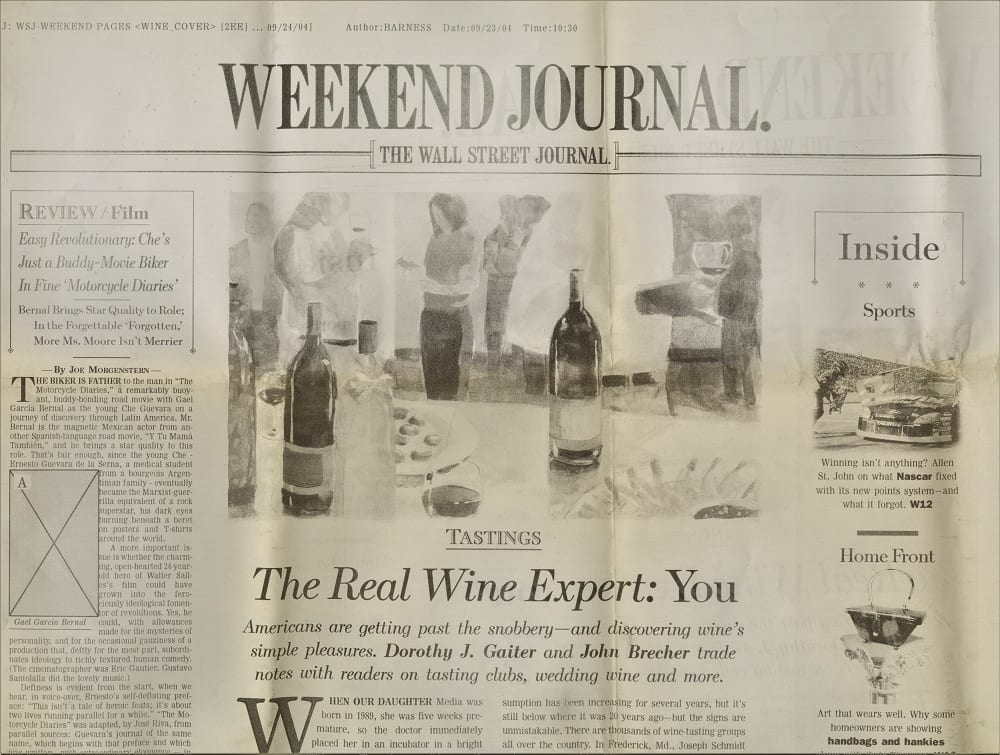 """A copy of Gaiter and Brecher's """"Tastings"""" column featured on the front page of the Wall Street Journal's Weekend Journal on September 23, 2004."""