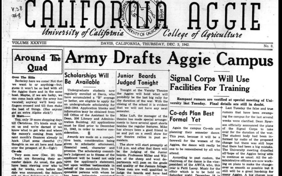 During World War II, the U.S. military used the entire UC Davis campus, including the library, as a training facility for the Army Signal Corps. The Main Reading Room in Shields Library was used as a place for specialized instruction in radio and wire operation and repair. This page-one story ran on Dec. 3, 1942, and is now part of the library's Aggie Archive (library.ucdavis.edu/aggie).