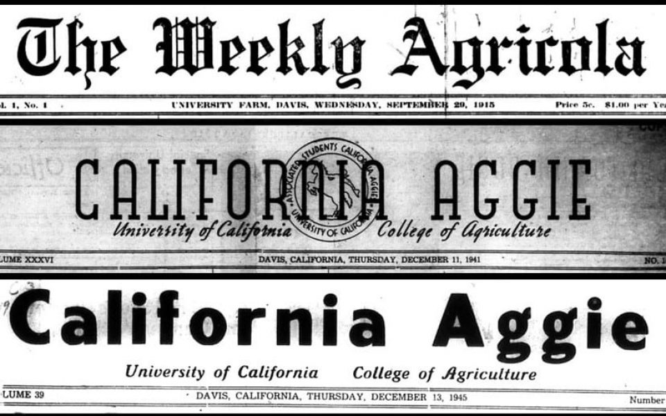 Early mastheads (from 1915, 1941 and 1945) illustrate how The California Aggie evolved over time, from one era and editorial staff to the next.
