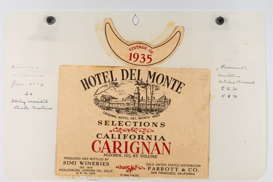 California Carignan from Maynard Amerine's label collection