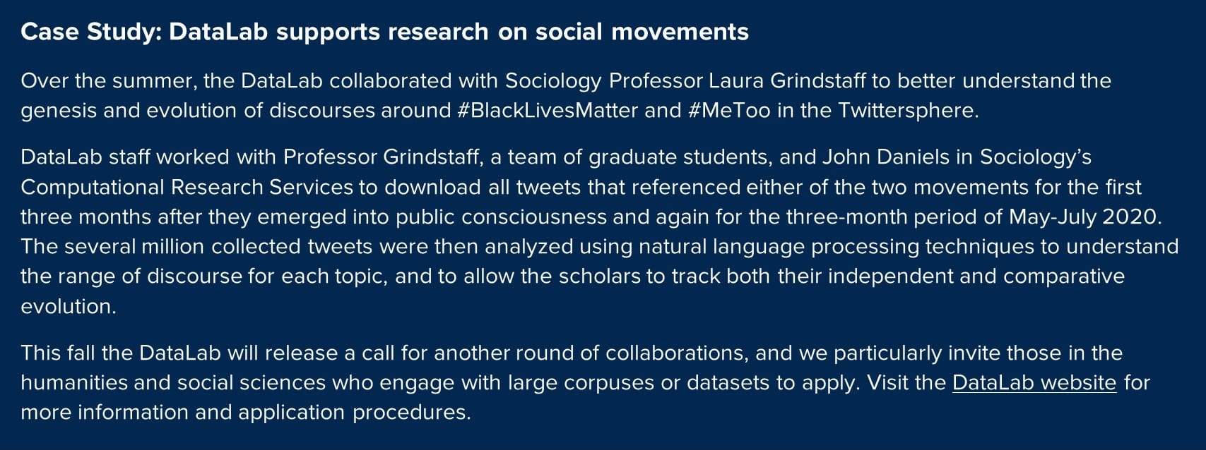 Case study on DataLab support for research in the humanities and social sciences