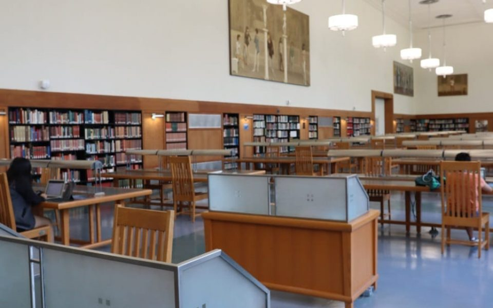Shields Library Main Reading Room in Fall 2020