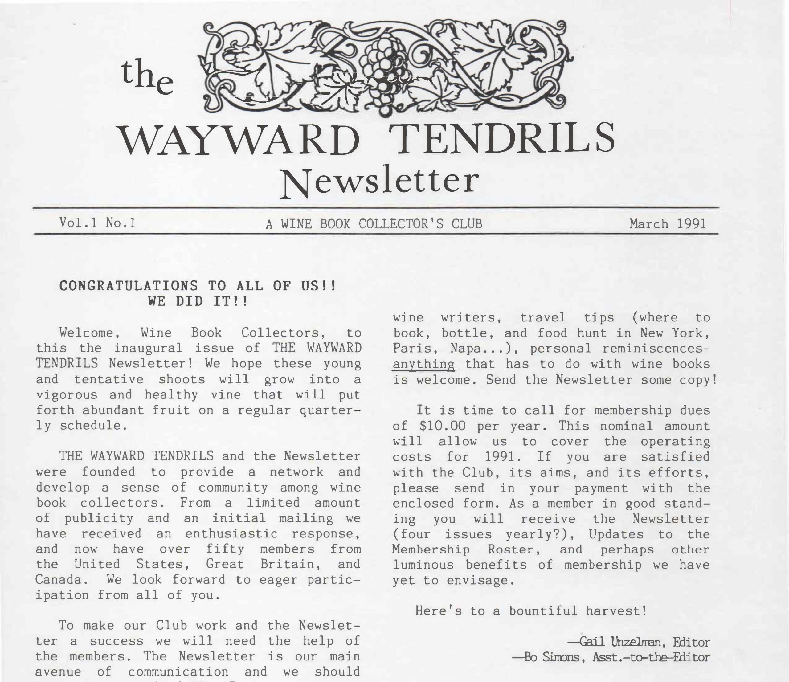 The first Wayward Tendrils Newsletter, March 1991