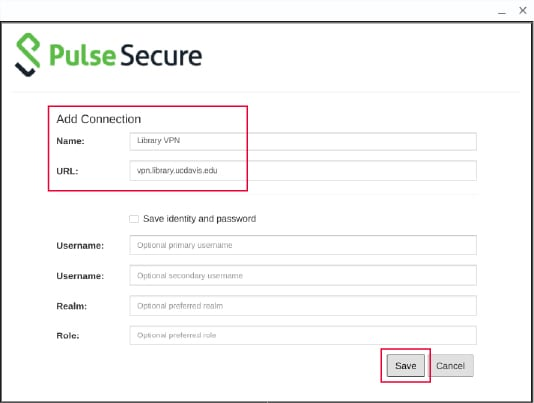 Screenshot of Pulse Secure Add Connection