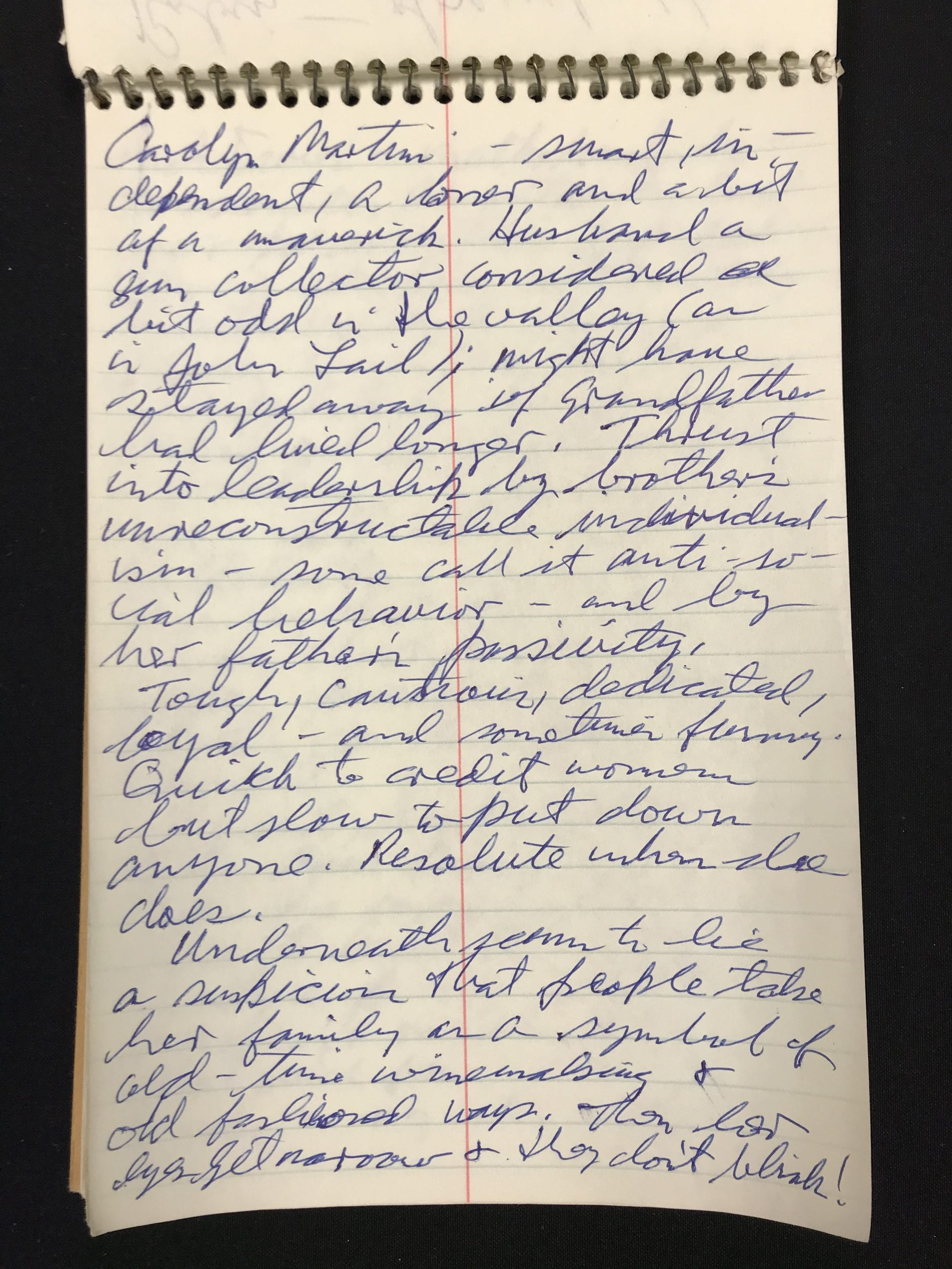 Page from Conaway notebook -- Carolyn Martini profile