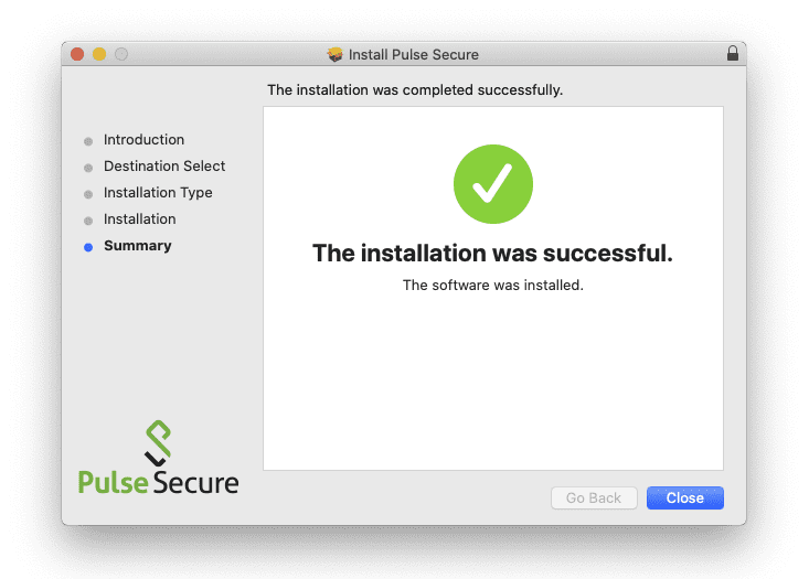 Screenshot of successful Pulse installation