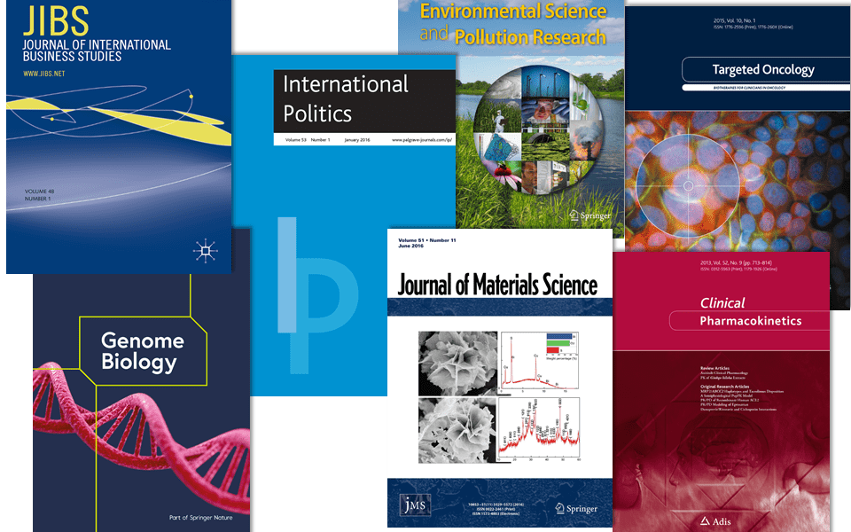 Journal images courtesy of Springer Nature