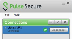 Screenshot of Pulse Secure with Library VPN connected