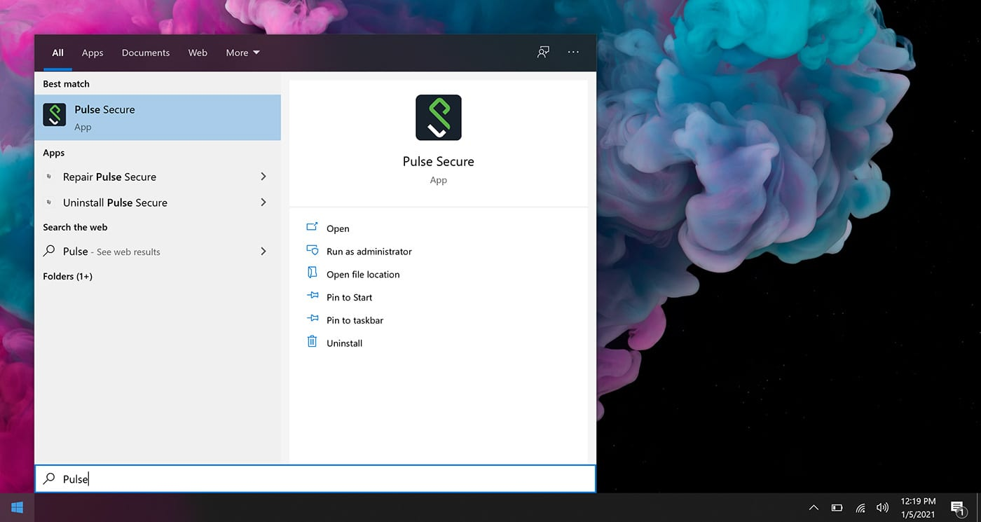 Screenshot of Windows Start Menu with Pulse Secure highlighted
