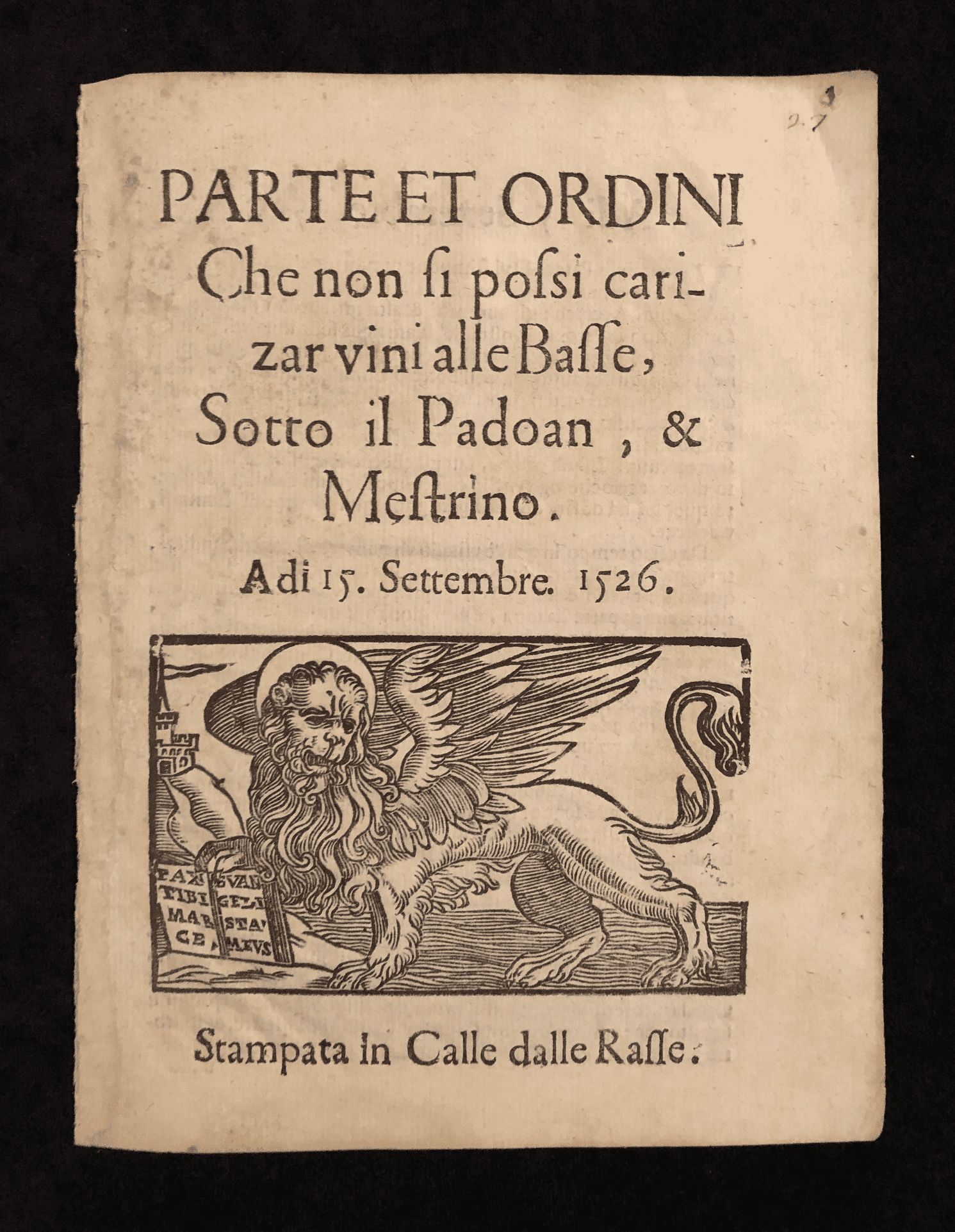Parte et Ordini- Text of an order dictating how wine for sale must be transported through Italy in the early 16th century
