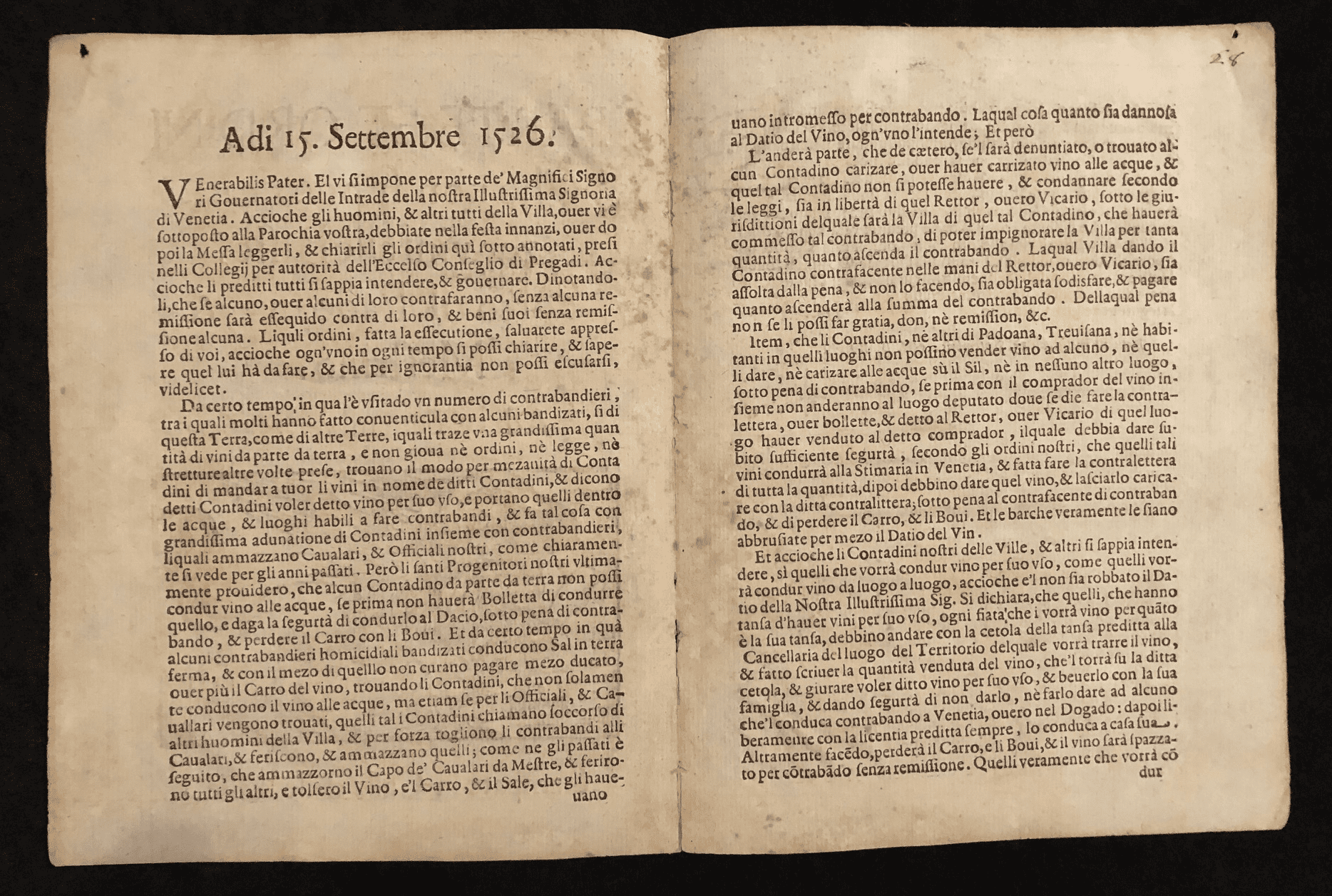 Parte ed Ordini 2 - Text of an order dictating how wine for sale must be transported through Italy in the early 16th century