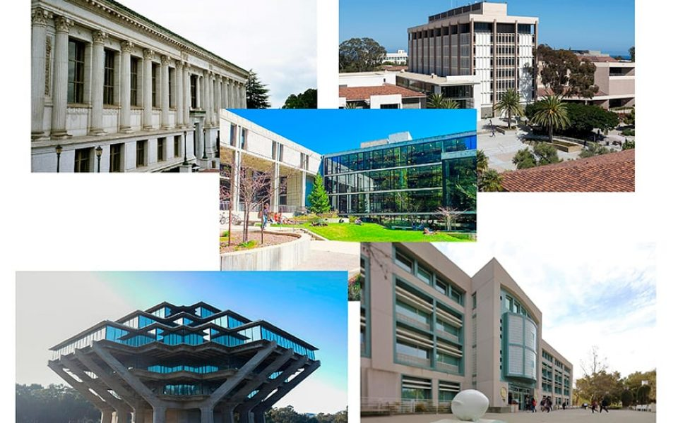 The 10 UC campus libraries will consolidate their online catalogs into a single system called UC Library Search in summer 2021. (Composite image includes photos of Doe Library at UC Berkeley, UC Santa Barbara Library, McHenry Library at UC Santa Cruz, Geisel Library at UC San Diego, all via Wikimedia Commons, and Shields Library at UC Davis)