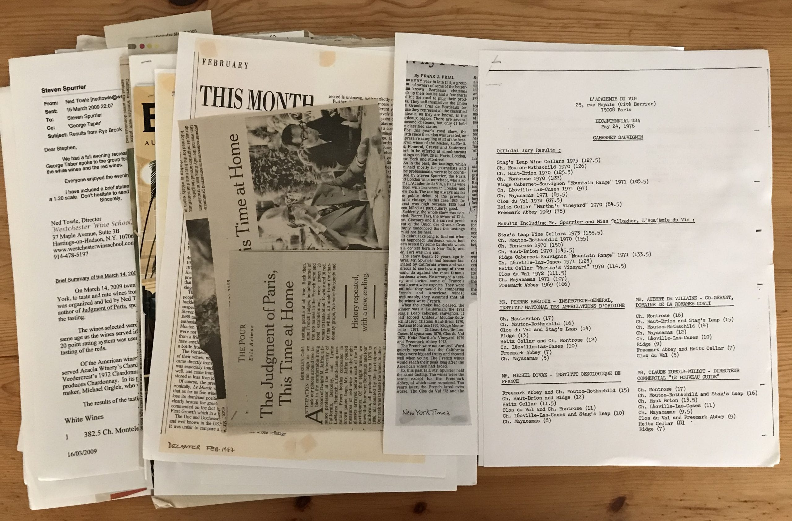 Papers from Steven Spurrier collection
