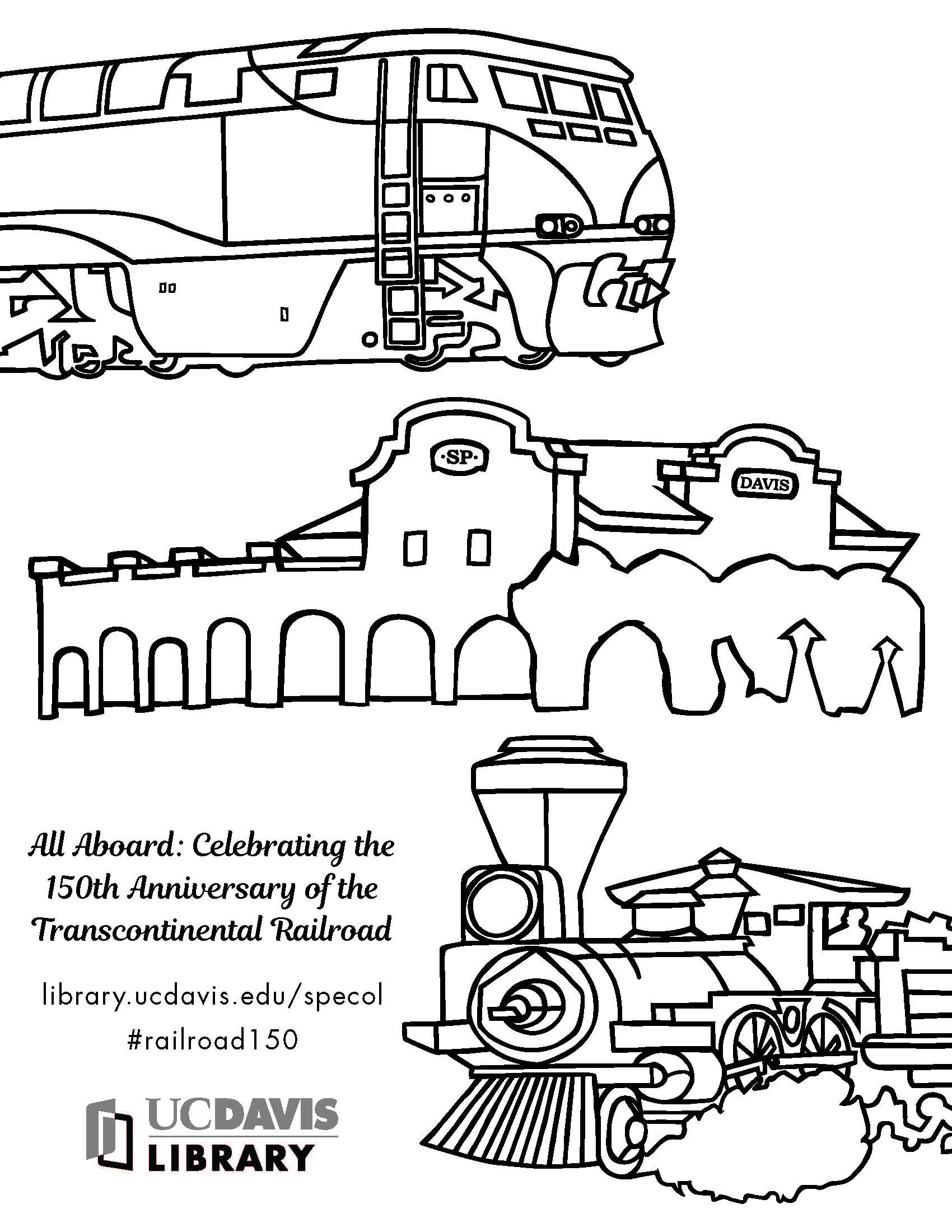 150th anniversary of the Transcontinental Railroad coloring sheet (2019)