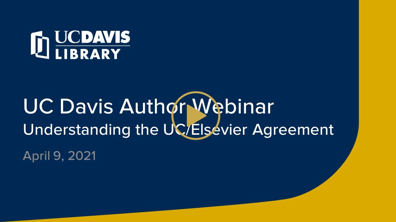 Elsevier author webinar title slide with play button