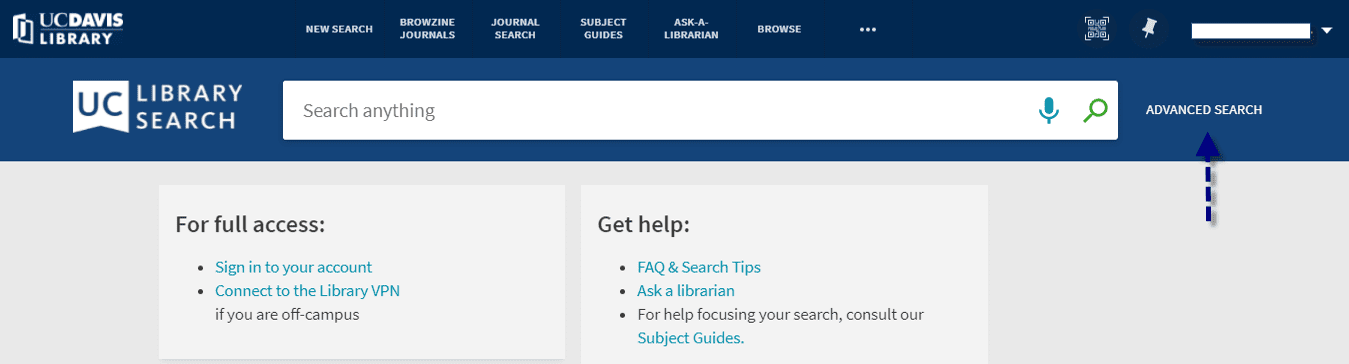 Click Advanced Search link from the main page of the library catalog