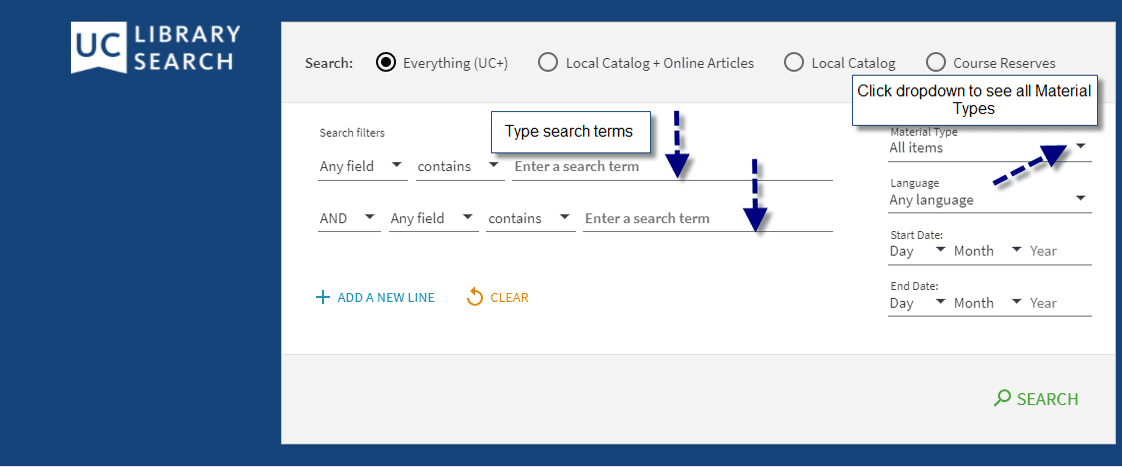 In Library Catalog Advanced Search, enter search terms and click Material Type to see dropdown menu with options