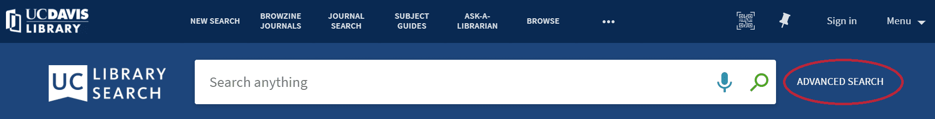 The Advanced Search link is located to the right of the Search box in UC Library Search