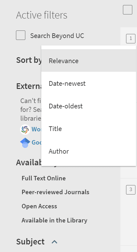 filters in left sidebar of UC Library Search