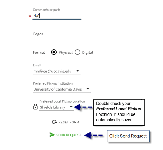Catalog search form showing preferred pickup location dropdown menu and Submit Request button
