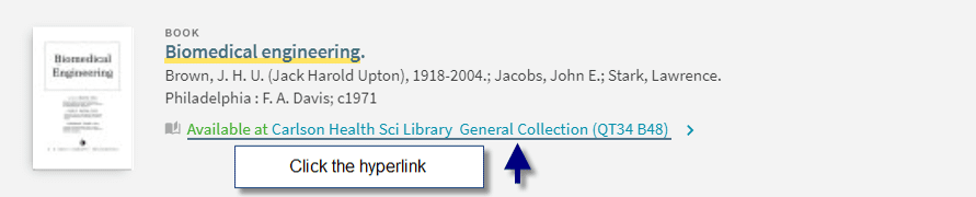 Selected item with arrow pointing to link where user should click