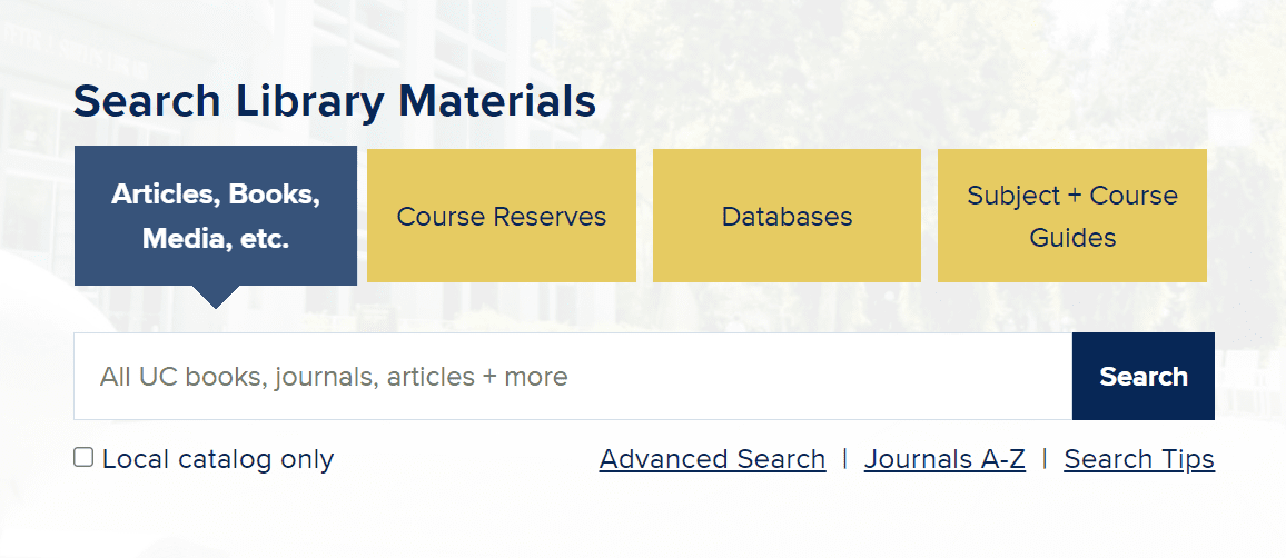 Search box to Search Library Materials