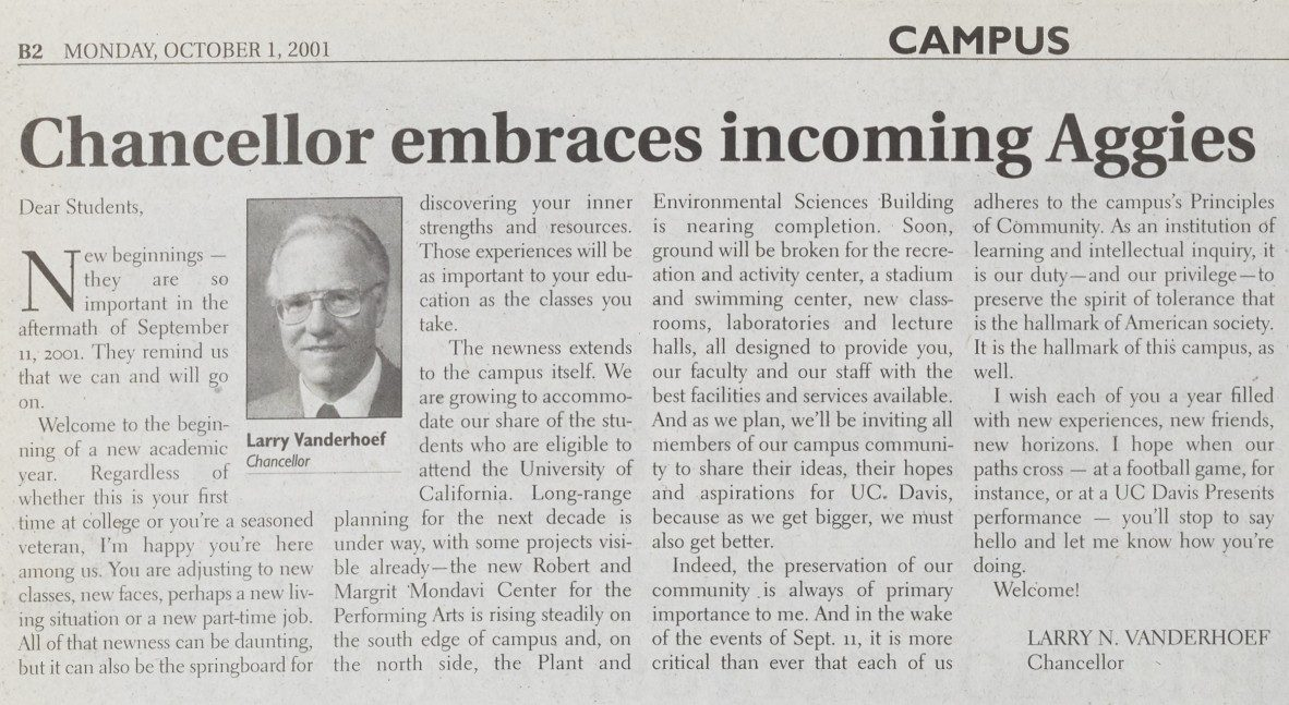 Chancellor Vanderhoef's welcome to returning students published in The Aggie on October 1 2001