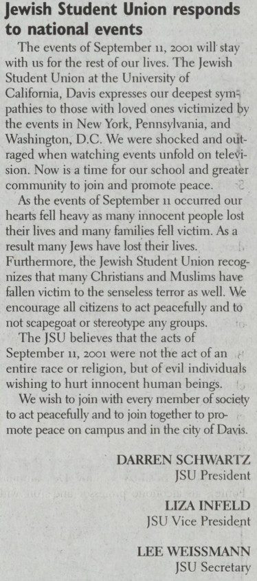 Story from The California Aggie with Jewish Student Union response to 9/11 attacks - published Oct 2 2001