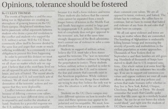 Article from The California Aggie on October 30, 2001 - Opinions, tolerance should be fostered
