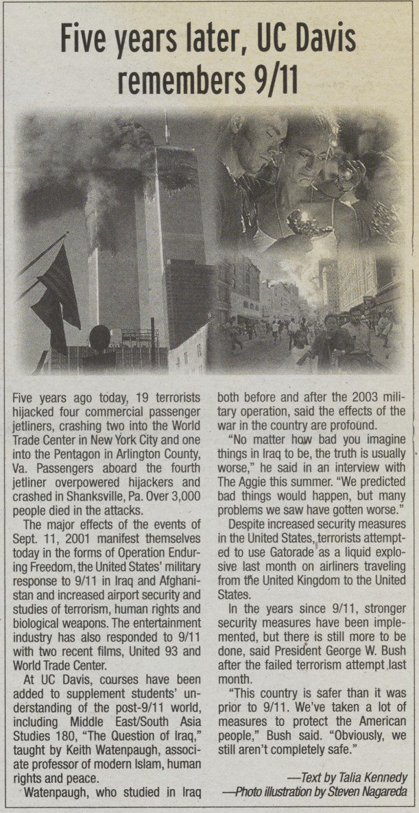 The Aggie's 5-year anniversary story on 9/11 attacks