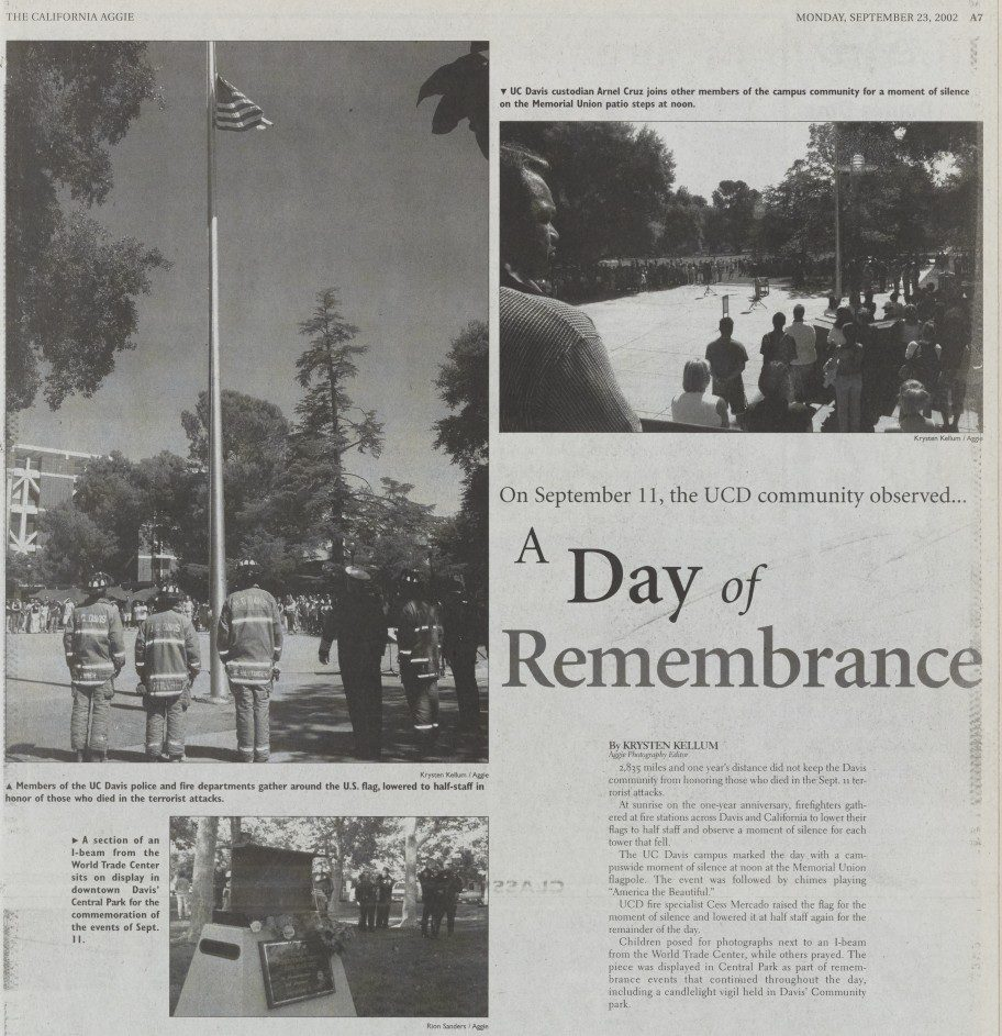 Photo montage with the headline A Day of Remembrance published in the California Aggie commemorating the one-year anniversary of the 9/11 attacks