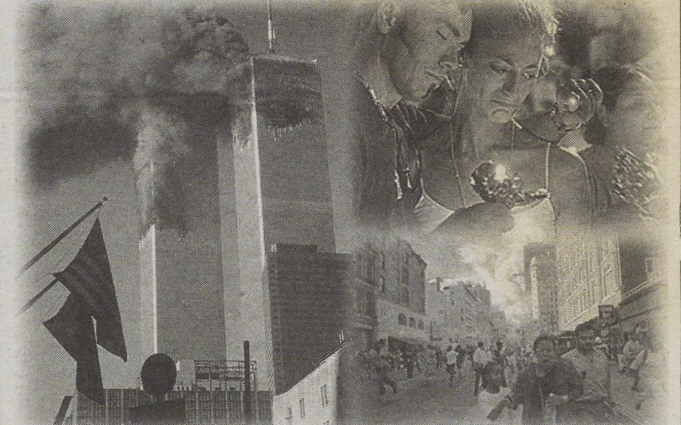Image published alongside The California Aggie's story on September 11, 2006, the fifth anniversary of the 9/11 attacks. (UC Davis Library/University Archives)